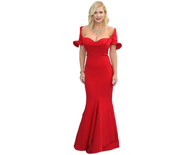 A Lifesize Cardboard Cutout of Carrie Keagan wearing a red dress