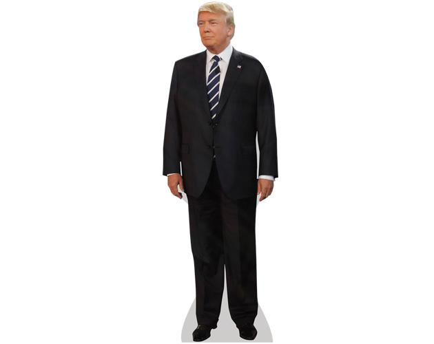 A Lifesize Cardboard Cutout of Donald Trump (Suit) wearing a suit