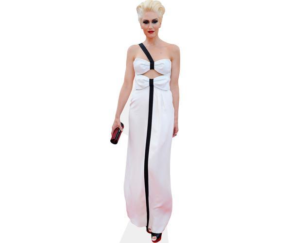 A Lifesize Cardboard Cutout of Gwen Stefani wearing a gown
