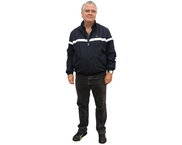 A Lifesize Cardboard Cutout of Michael Harney wearing a tracksuit