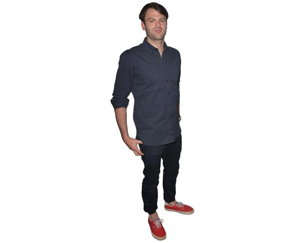 A Lifesize Cardboard Cutout of The Chainsmokers (Alex Pall) wearing red shoes