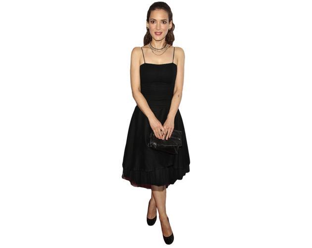 A Lifesize Cardboard Cutout of Winona Ryder wearing a black dress
