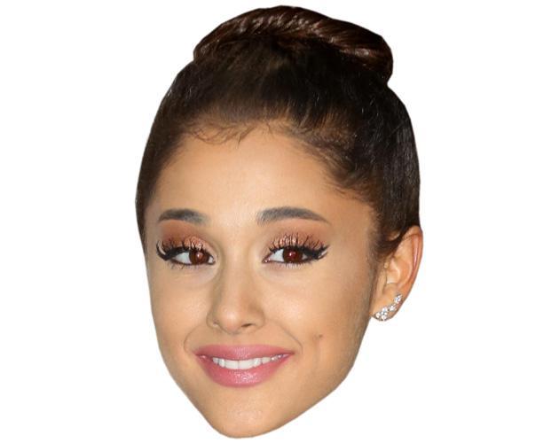 A Cardboard Celebrity Mask of Ariana Grande (Hair Up)