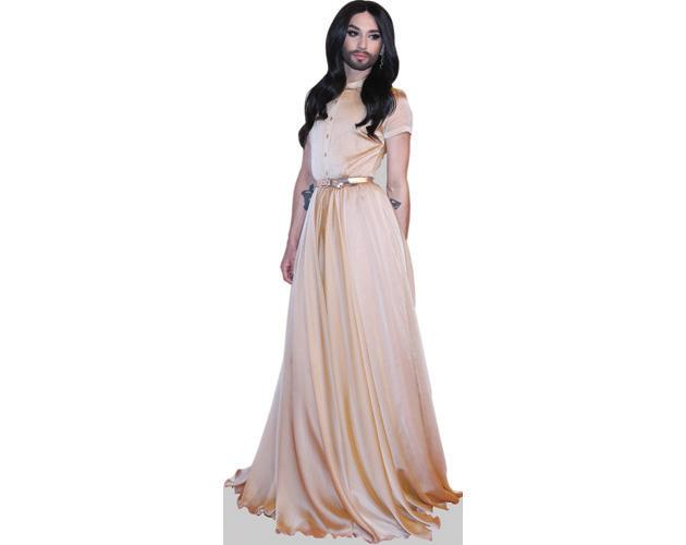 A Lifesize Cardboard Cutout of Conchita Wurst wearing a gown