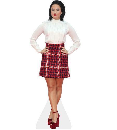 A Lifesize Cardboard Cutout of Demi Lovato wearing tartan