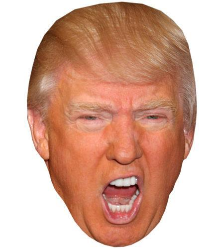 A Cardboard Celebrity Mask of Donald Trump (Shouting)