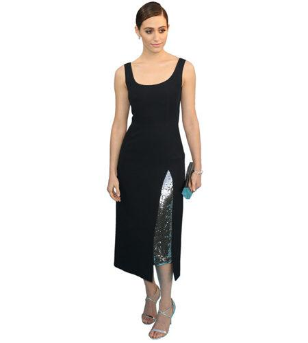 A Lifesize Cardboard Cutout of Emmy Rossum wearing a black dress