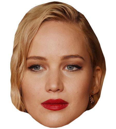 A Cardboard Celebrity Mask of Jennifer Lawrence