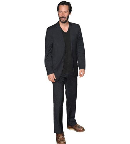 A Lifesize Cardboard Cutout of Keanu Reeves wearing a suit