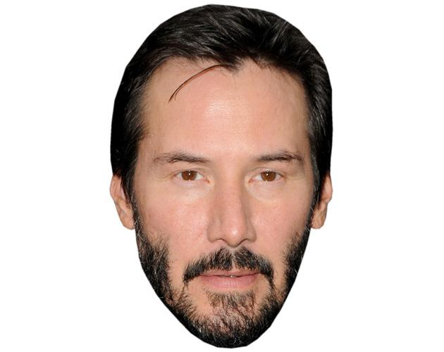 A Cardboard Celebrity Mask of Keanu Reeves