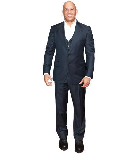 A Lifesize Cardboard Cutout of Vin Diesel wearing a suit